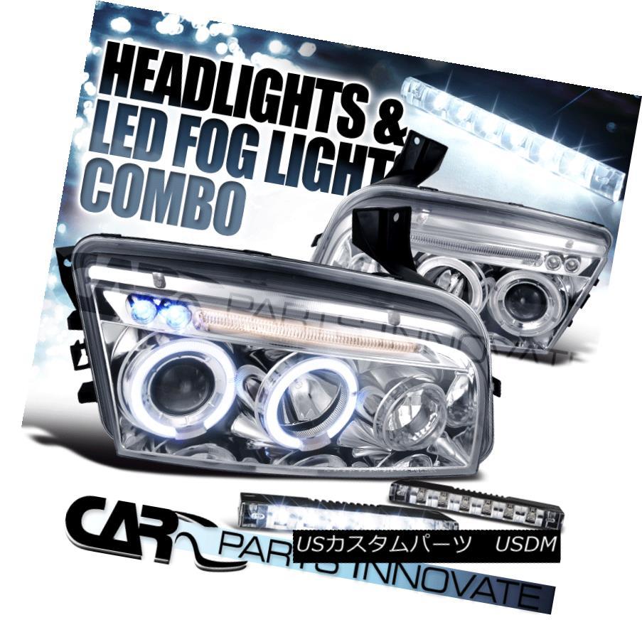 ヘッドライト 06-10 Dodge Charger Chrome Twin Halo Projector Headlights+6-LED Fog Lamps 06-10ダッジチャージャークロームツインハロープロジェクターヘッドライト+ 6-L  EDフォグランプ