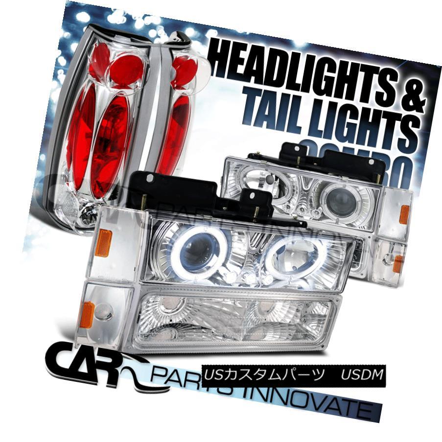 ヘッドライト 88-93 C10 C/K Chrome Projector Headlights+Bumper Corner Lamps+Tail Lights 88-93 C10 C / Kクロームプロジェクターヘッドライト+ Bum  /コーナーランプ+テールライト