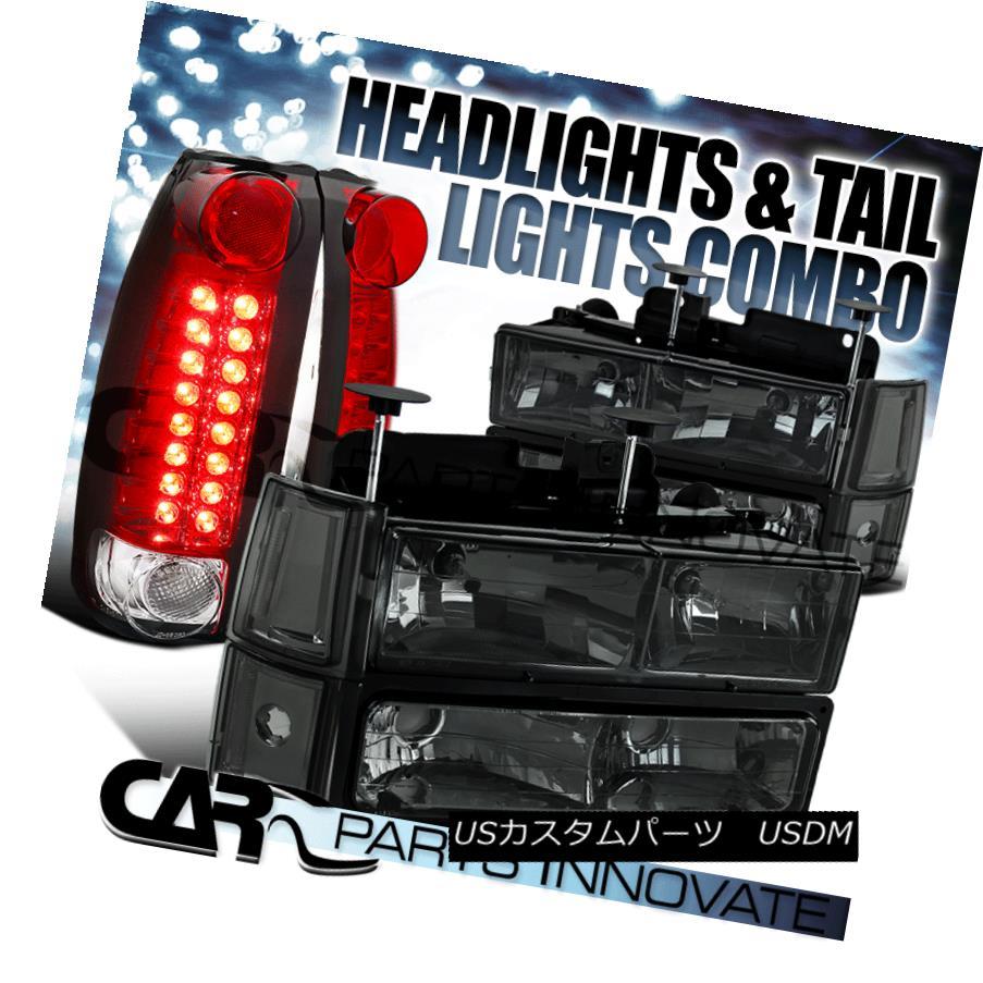 ヘッドライト 94-98 GMC Sierra Smoke Headlights+Bumper Corner Lamps+Red/Clear LED Tail Lamps 94-98 GMC Sierraスモークヘッドライト+コーナーランプ+赤/クリーア r LEDテールランプ