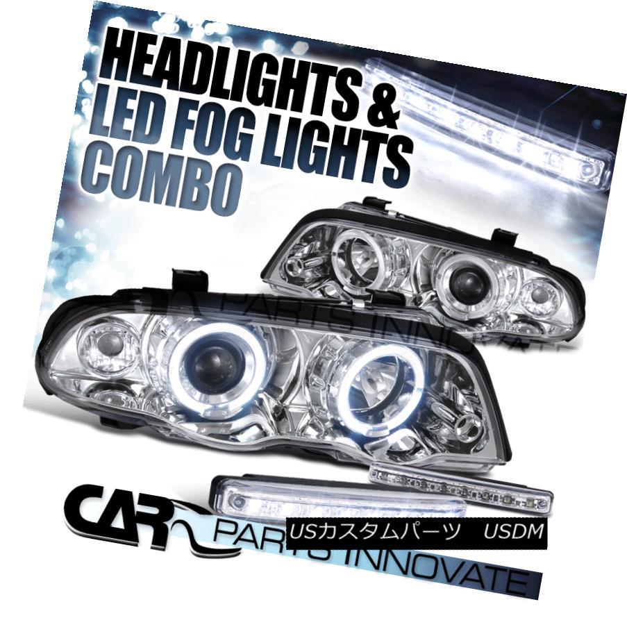 ヘッドライト 99-01 BMW E46 3-Series 4Dr Chrome Halo Projector Headlights+8-LED Fog Lamps 99-01 BMW E46 3シリーズ4Drクロームハロープロジェクターヘッドライト+ 8-L  EDフォグランプ