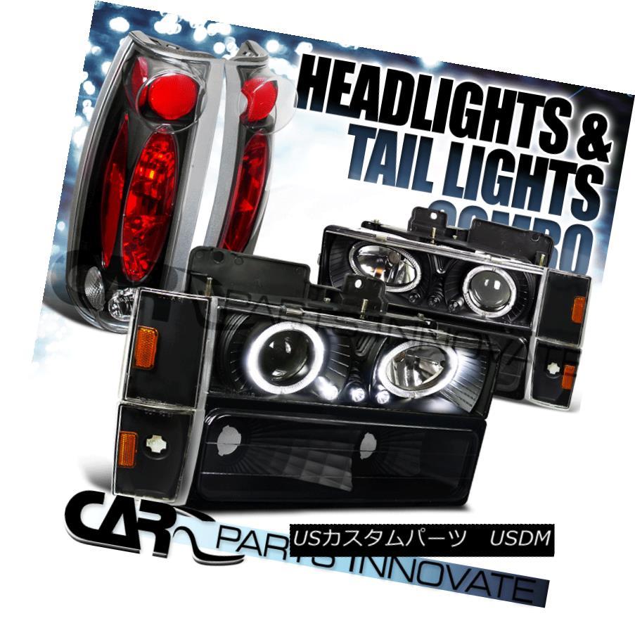 ヘッドライト 1988-1993 C10 C/K Black Projector Headlights+Bumper+Corner Lamps+Tail Light 1988-1993 C10 C / Kブラックプロジェクターヘッドライト+ Bum  +コーナーランプ+テールライト