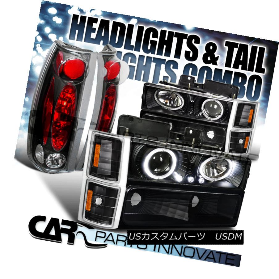 ヘッドライト 94-98 Chevy C10 C/K Tahoe Black Halo LED Projector Headlights+Tail Lamps 94-98シボレーC10 C / KタホブラックハローLEDプロジェクターヘッドライト+タイ lランプ