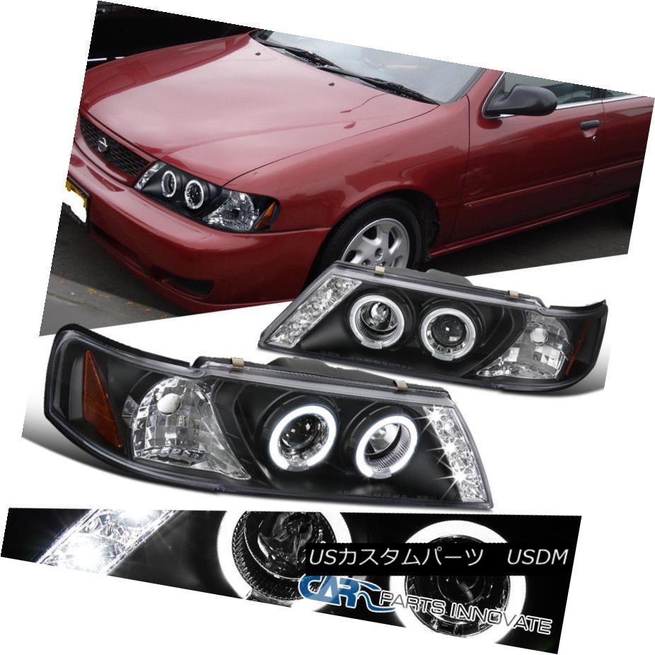 ヘッドライト For Nissan 95-99 Sentra 200SX LED Halo Projector Headlights Headlamps Black Pair 日産95-99用Sentra 200SX LEDハロープロジェクターヘッドライトヘッドランプブラックペア