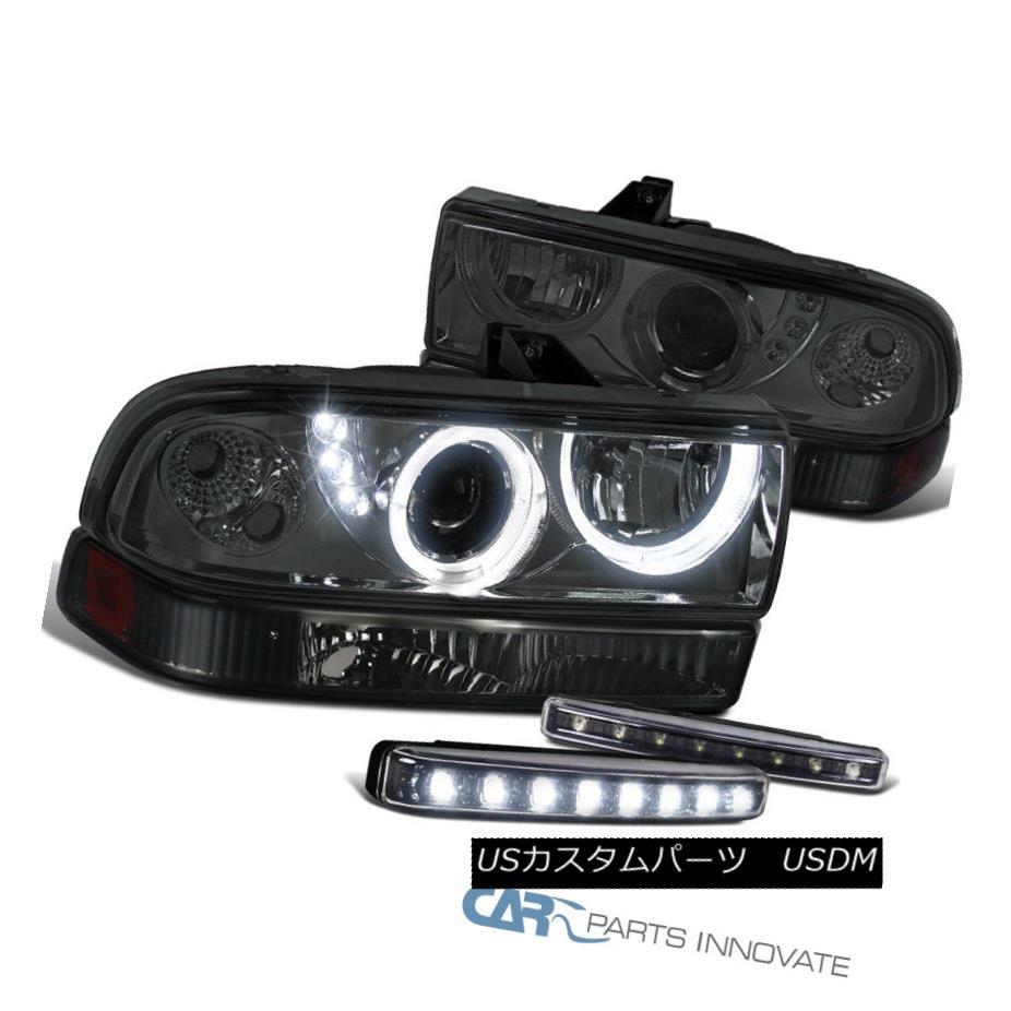 ヘッドライト 98-04 S10 Blazer Smoke SMD LED DRL Projector Headlights+Bumper Lamp+LED Fog Lamp 98-04 S10ブレイザースモークSMD LED DRLプロジェクターヘッドライト+ブラム ランプ+ LEDフォグランプ