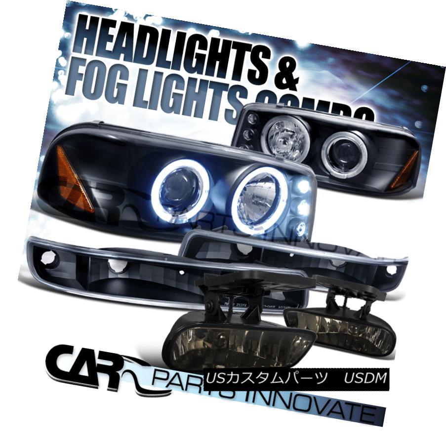 ヘッドライト 99-02 GMC Sierra Black Halo Projector Headlights+Bumper Lamps+Smoke Fog Lights 99-02 GMC Sierra Black Haloプロジェクターヘッドライト+バーン 、ランプ+スモークフォグライト