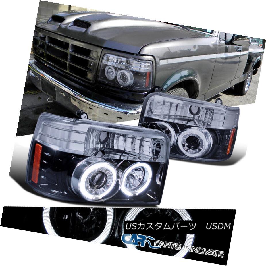 ヘッドライト Glossy Black 92-96 F150 F250 F350 Bronco Pickup Tinted Halo Projector Headlights 光沢ブラック92-96 F150 F250 F350ブロンコピックアップハーフプロジェクターヘッドライト