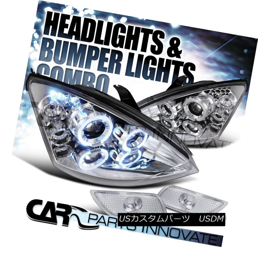 ヘッドライト Ford 00-04 Focus Chrome Halo LED Projector Headlights+Bumper Side Marker Lamps フォード00-04フォーカスクロームハローLEDプロジェクターヘッドライト+サイドマーカーランプごとのバーン
