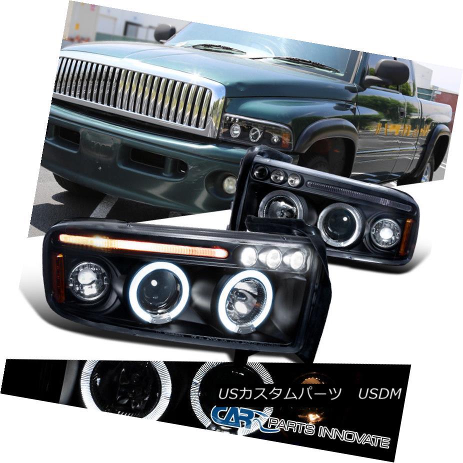 ヘッドライト Dodge 94-01 Ram 1500 2500 3500 LED Halo Projector Headlights Lamps Black Pair ドッジ94-01ラム1500 2500 3500 LEDハロープロジェクターヘッドライトランプブラックペア