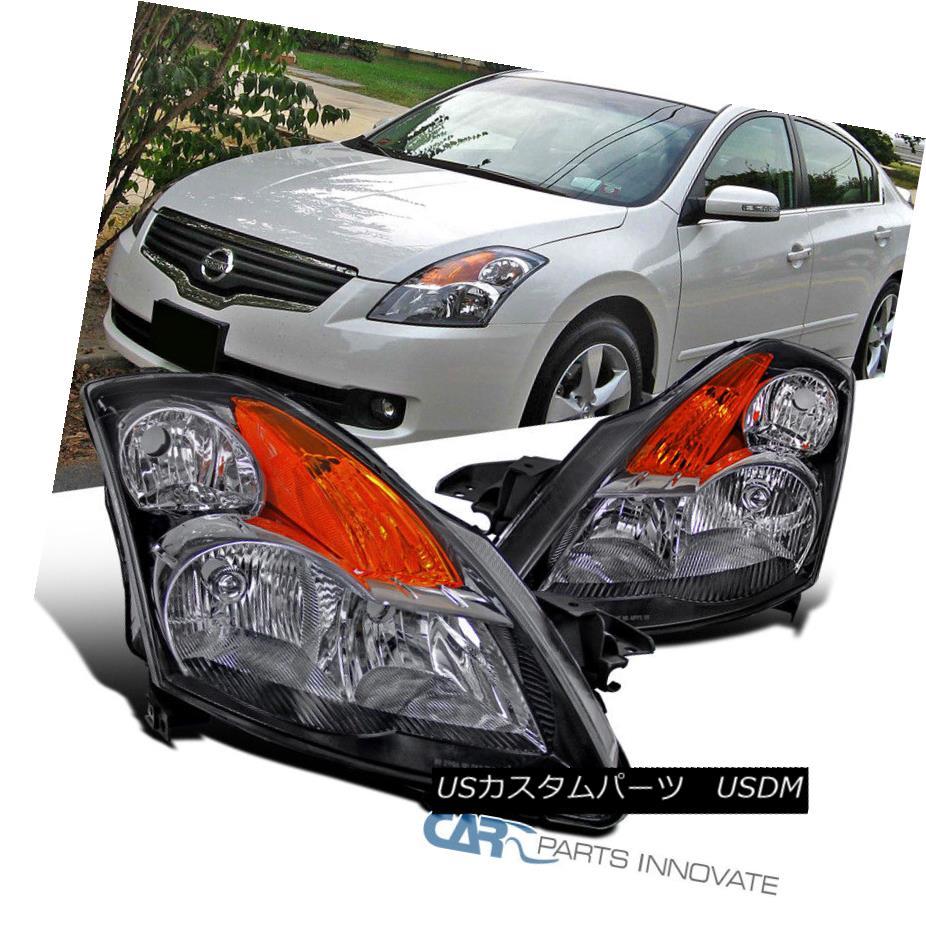 ヘッドライト For 07-09 Nissan Altima 4Dr Sedan Black Headlights Amber Signal Lamps Left+Right 07-09日産アルティマ4Drセダンブラックヘッドライトアンバーシグナルランプ左+右