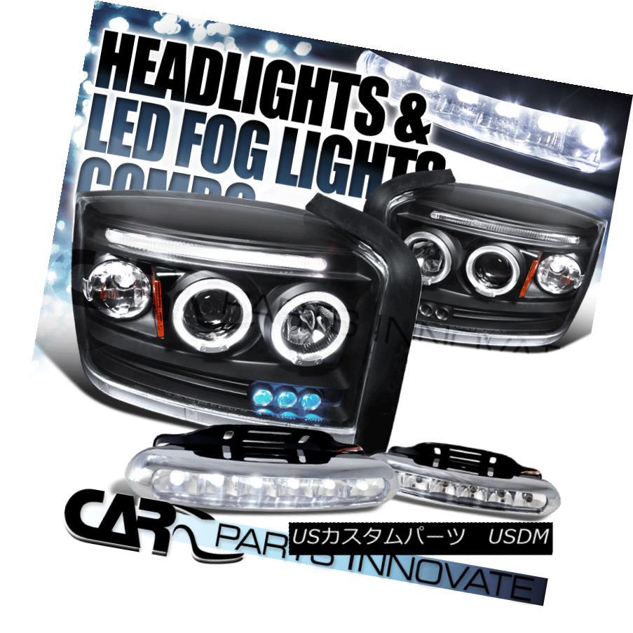 ヘッドライト 2005-2007 Dakota Black LED Halo Projector Headlights+6-LED Fog Bumper Lamps 2005-2007ダコタブラックLEDハロープロジェクターヘッドライト+ 6-L  EDフォグバンパーランプ