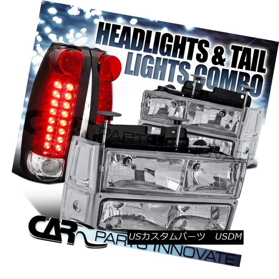 ヘッドライト 94-98 Sierra Chrome Clear Headlights+Bumper Corner Lamp+Red/Clear LED Tail Lamps 94-98 Sierra Chromeクリアヘッドライト+ Bum  /コーナーランプ+レッド/クリアLEDテールランプ