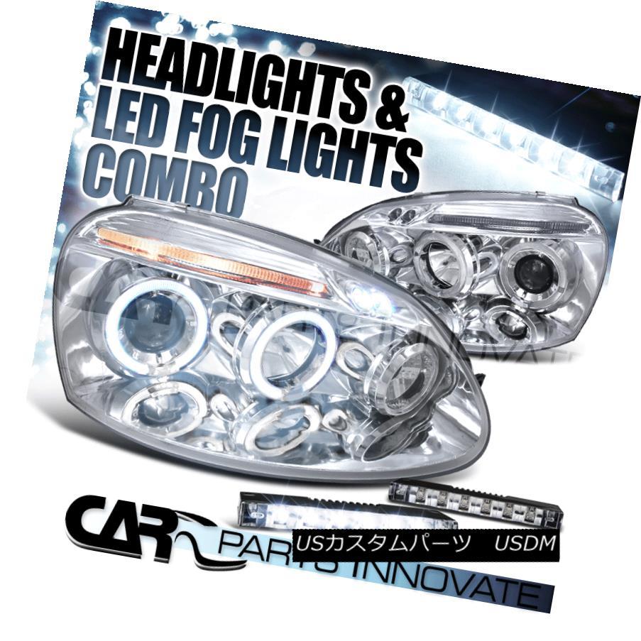 ヘッドライト 06-08 Fit Golf Mk5 Jetta Clear Halo Projector Headlights+6-LED Fog Bumper Lamps 06-08フィットゴルフMk5ジェッタクリアハロープロジェクターヘッドライト+ 6-L  ED Fogバンパーランプ