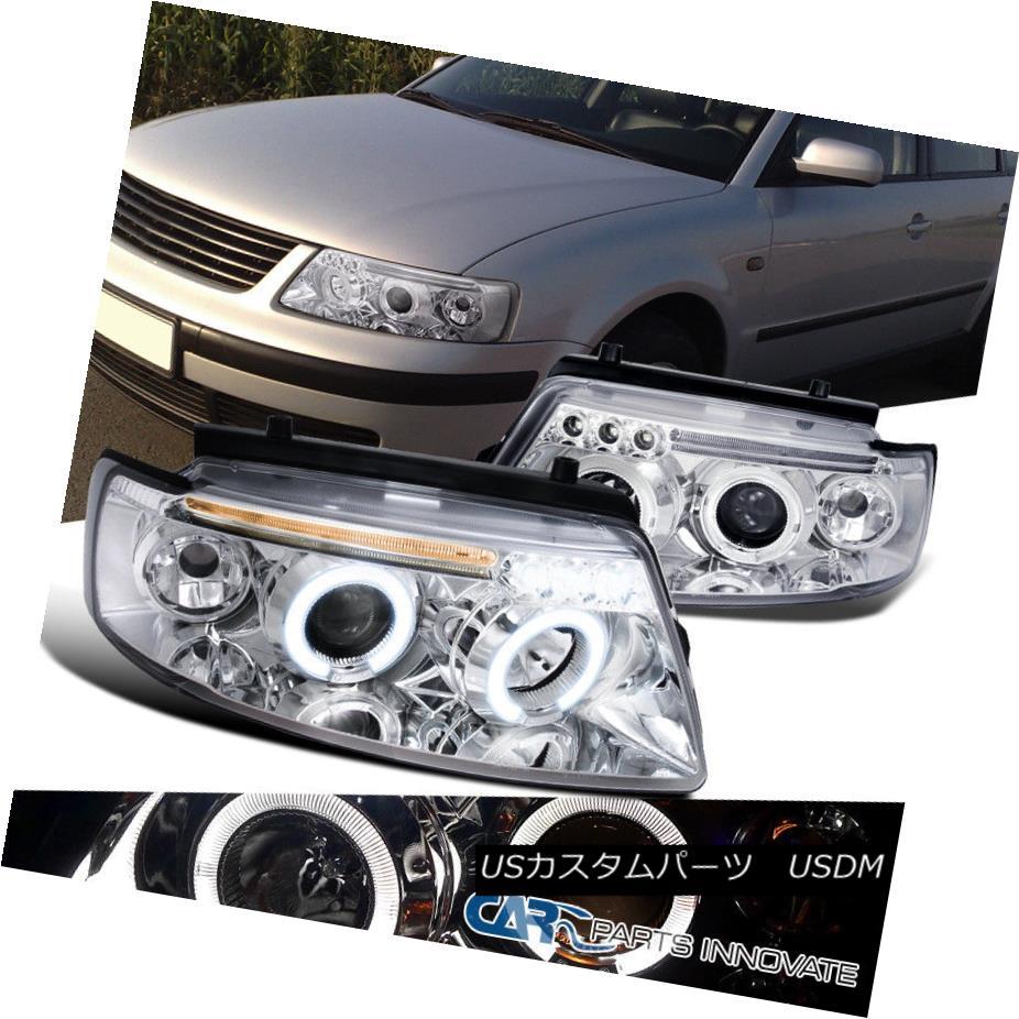 ヘッドライト For 97-00 Passat Replacement Dual Halo LED DRL Clear Projector Headlights Lamps 97-00パサート用交換用デュアルハローLED DRLクリアプロジェクターヘッドライトランプ
