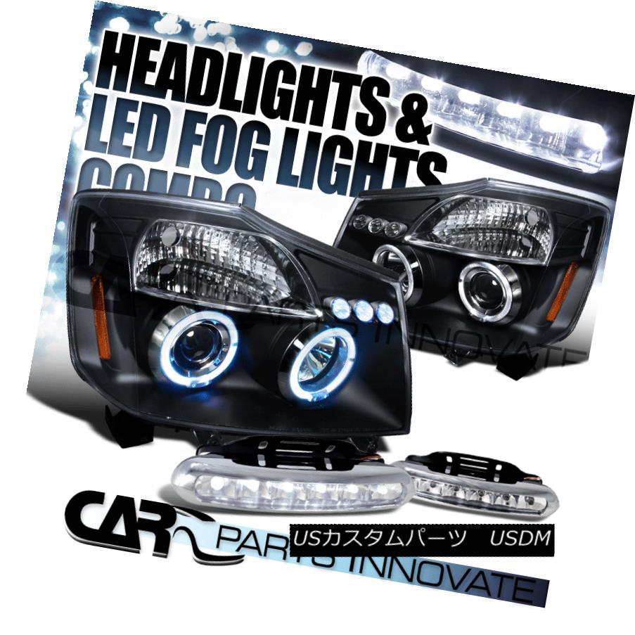 ヘッドライト For Nissan 04-15 Titan Armada Black Halo Projector Headlights+6-LED Fog Lamps 日産04-15タイタンアルマダブラックハロープロジェクターヘッドライト+ 6-L  EDフォグランプ