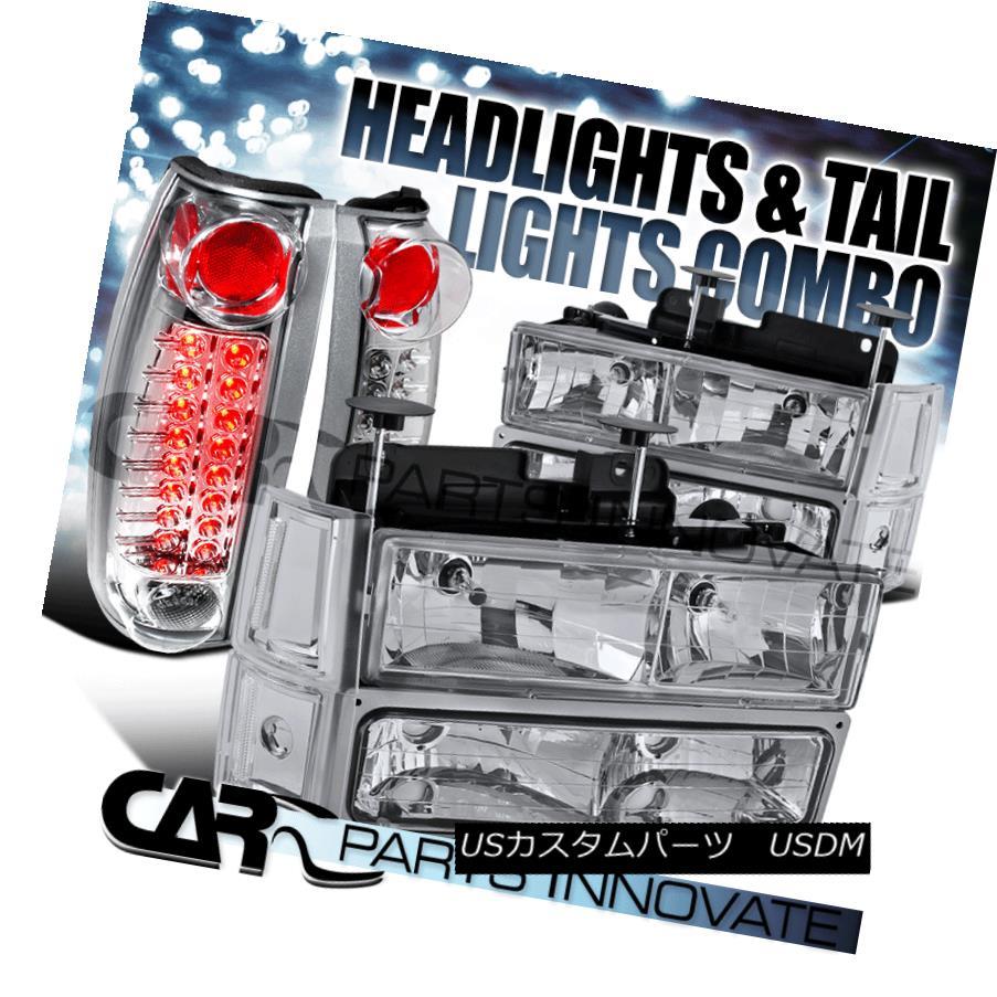 ヘッドライト 94-98 GMC C10 Sierra Chrome Clear Headlights+Bumper Corner Lamps+LED Tail Lamps 94-98 GMC C10シエラ・クロームクリア・ヘッドライト+ Bum  /コーナーランプ+ LEDテールランプ