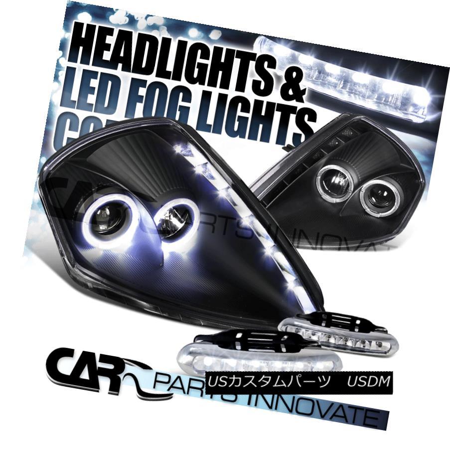 ヘッドライト 00-05 Eclipse SMD DRL Black Dual Halo Projector Headlights+6-LED Fog Lamps 00-05 Eclipse SMD DRLブラックデュアルハロープロジェクターヘッドライト+ 6-L  EDフォグランプ