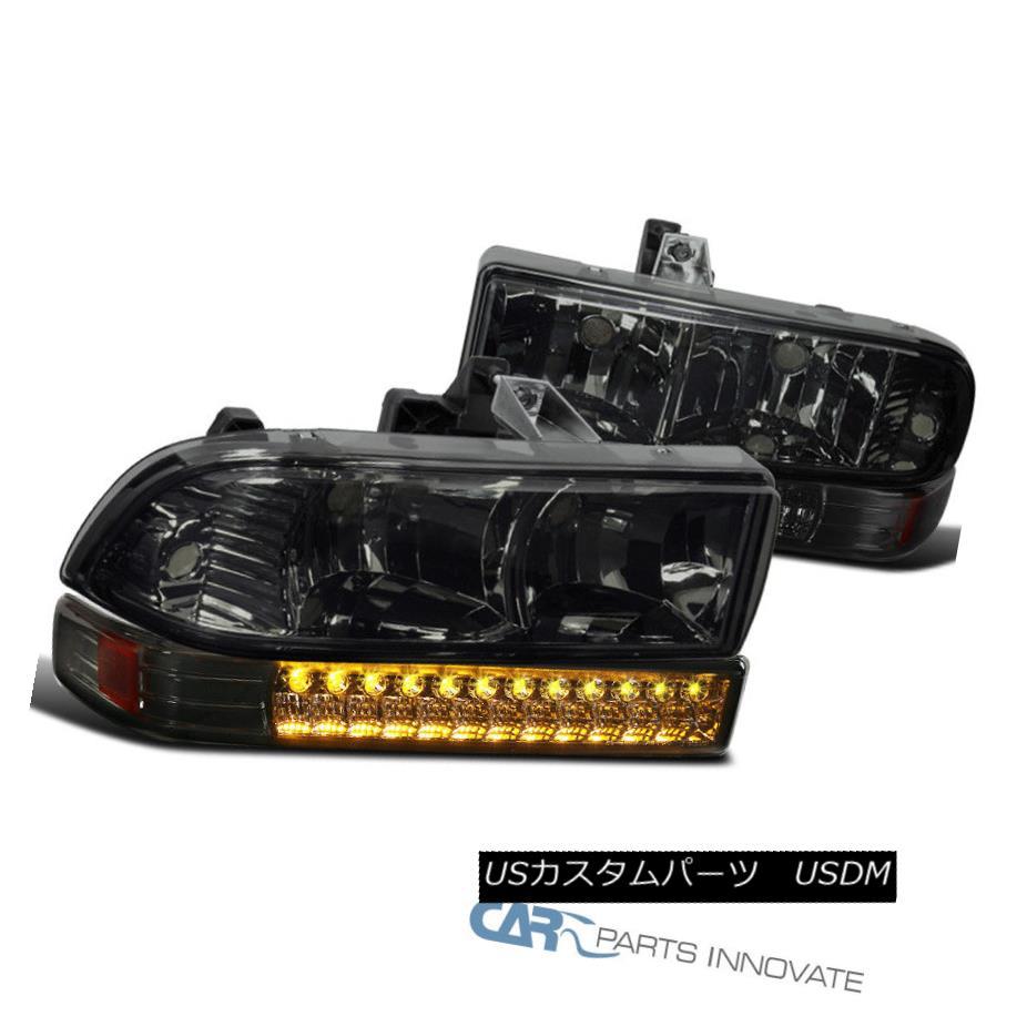 ヘッドライト 1998-2004 Chevy S10 Blazer Pickup Smoke Headlights+LED Bumper Lamps Smoke 1998-2004シボレーS10ブレザーピックアップスモークヘッドライト+ LEDバンパーランプスモーク