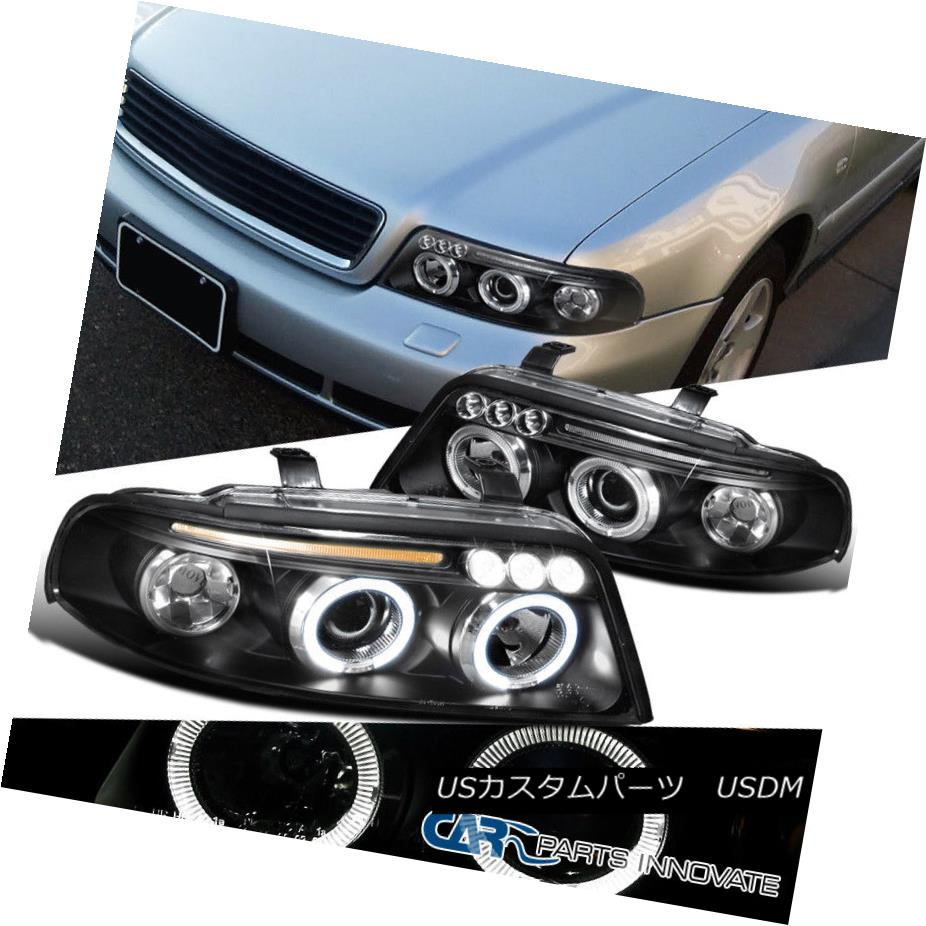 ヘッドライト For 99-01 Audi A4 B5 Replacement Black LED Halo Projector Headlights Headlamps 99-01用Audi A4 B5交換用黒色LEDハロープロジェクターヘッドライトヘッドランプ