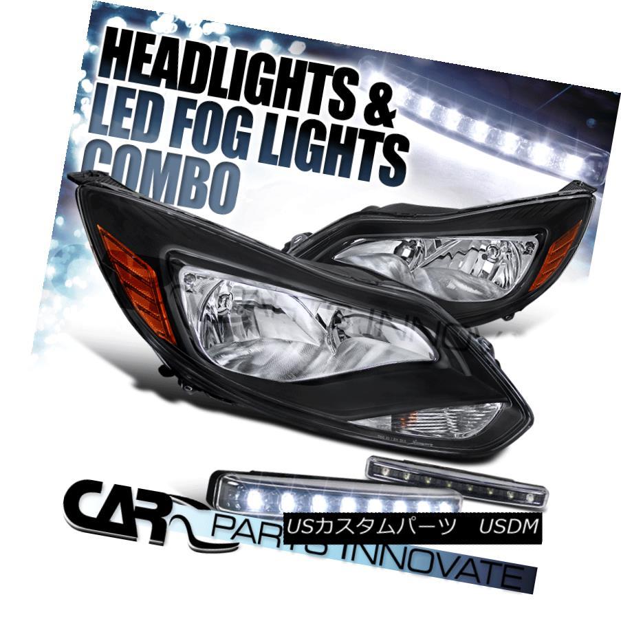 ヘッドライト For US / Canadian 12-14 Ford Focus Crystal Black Headlights+8-LED Fog Lamps 米国/カナダ向け12-14フォードフォーカスクリスタルブラックヘッドライト+ 8-L  EDフォグランプ