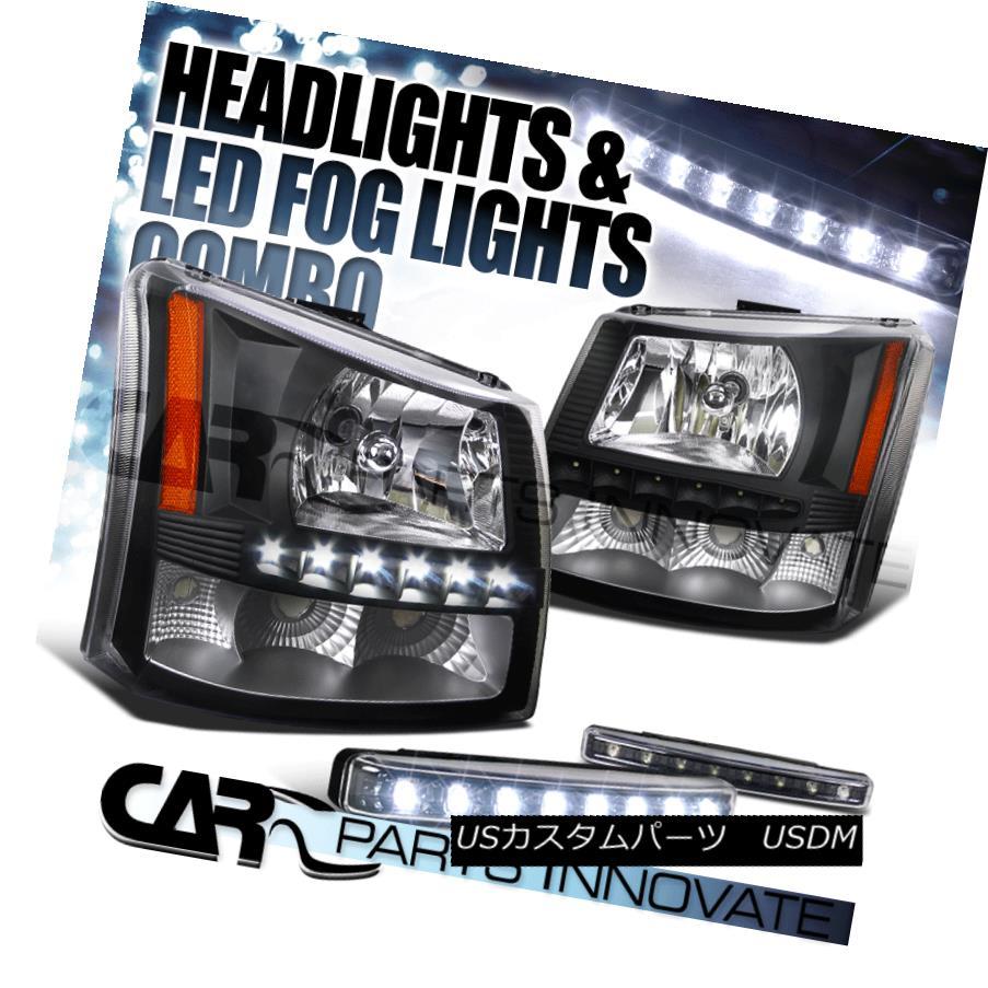 ヘッドライト 03-07 Silverado Avalanche 2in1 Black Head Bumper Lights+SMD LED+8-LED Fog Lamp 03-07 Silverado Avalanche 2in1ブラックヘッドバンパーライト+ SMD LED + 8-LEDフォグランプ