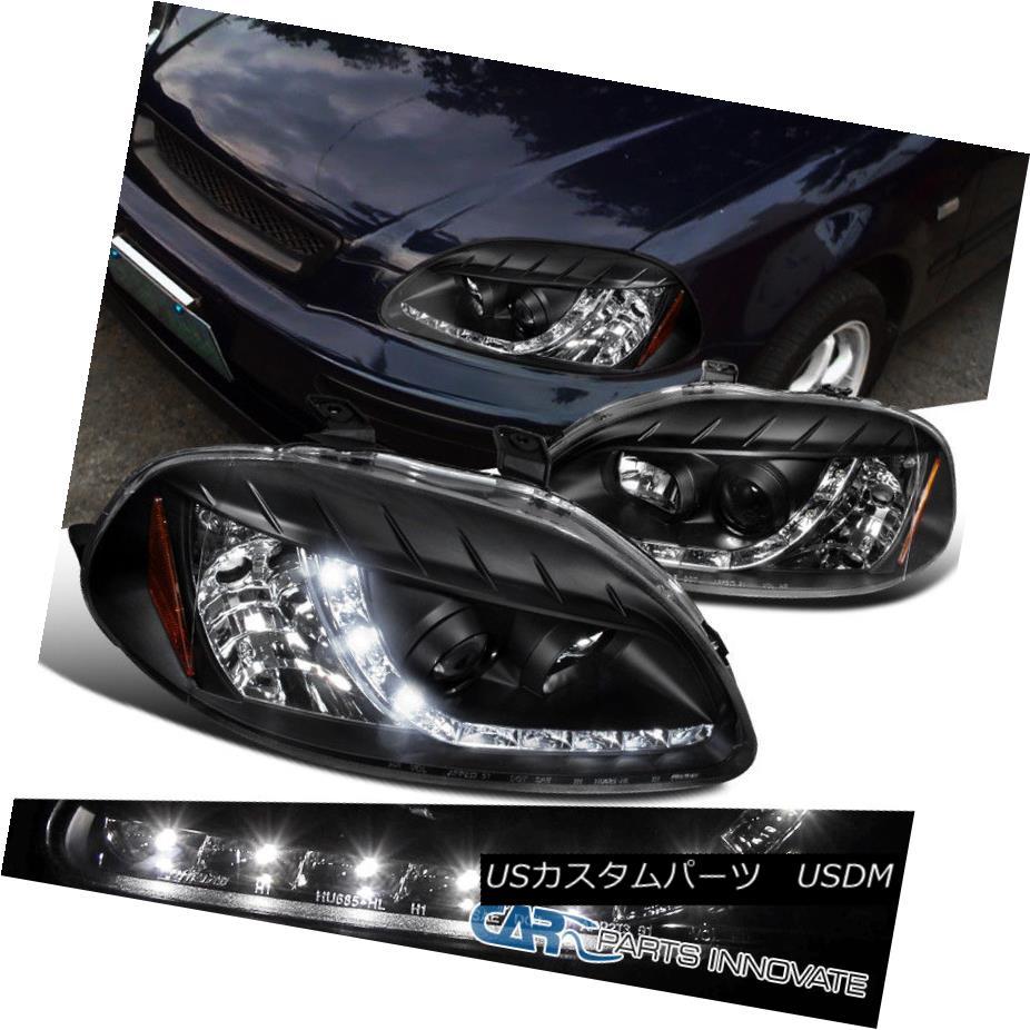 ヘッドライト For 96-98 Honda Civic 2/3/4Dr Black Clear R8 DRL Projector Headlights Head Lamps 96-98ホンダシビック2/3 / 4DrブラッククリアR8 DRLプロジェクターヘッドライトヘッドランプ用