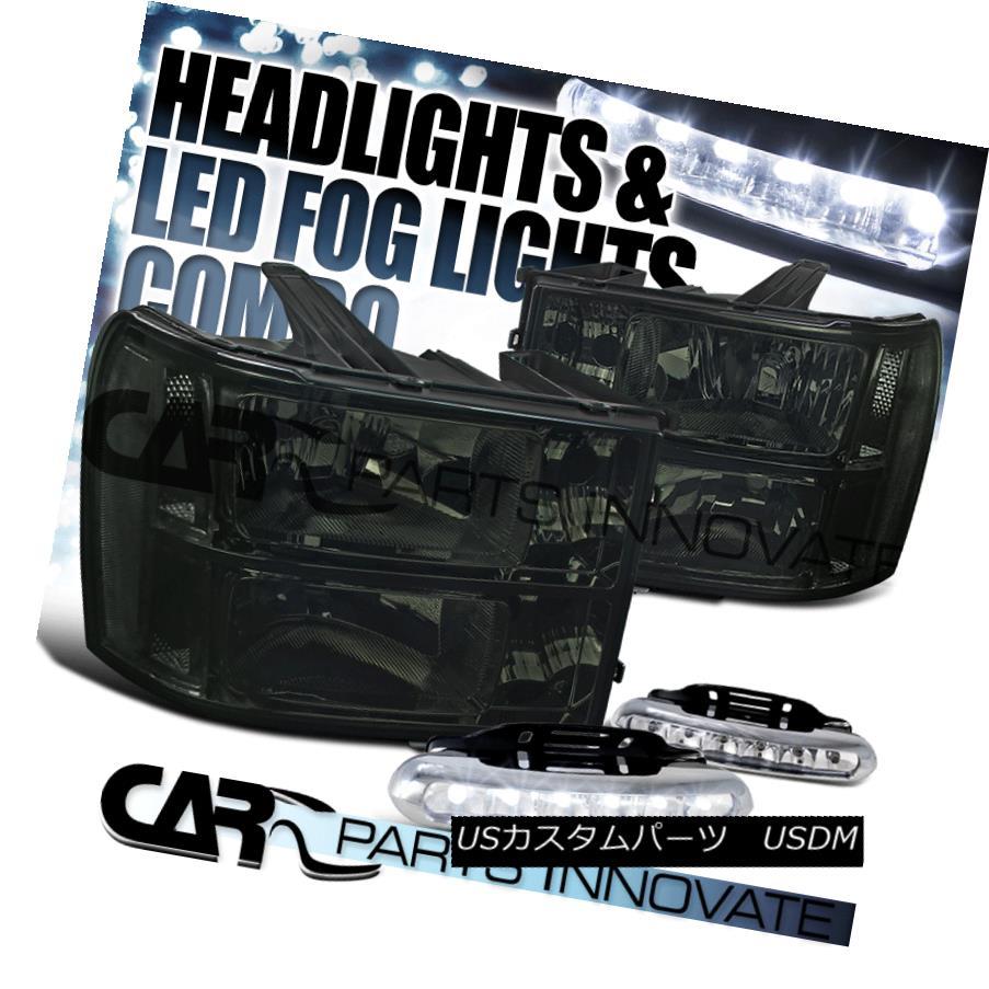 ヘッドライト 2007-2013 GMC Sierra Clear Smoke Replacement Headlights+LED Fog Bumper DRL 2007-2013 GMC Sierraクリアスモーク交換ヘッドライト+ LEDフォグバンパーDRL