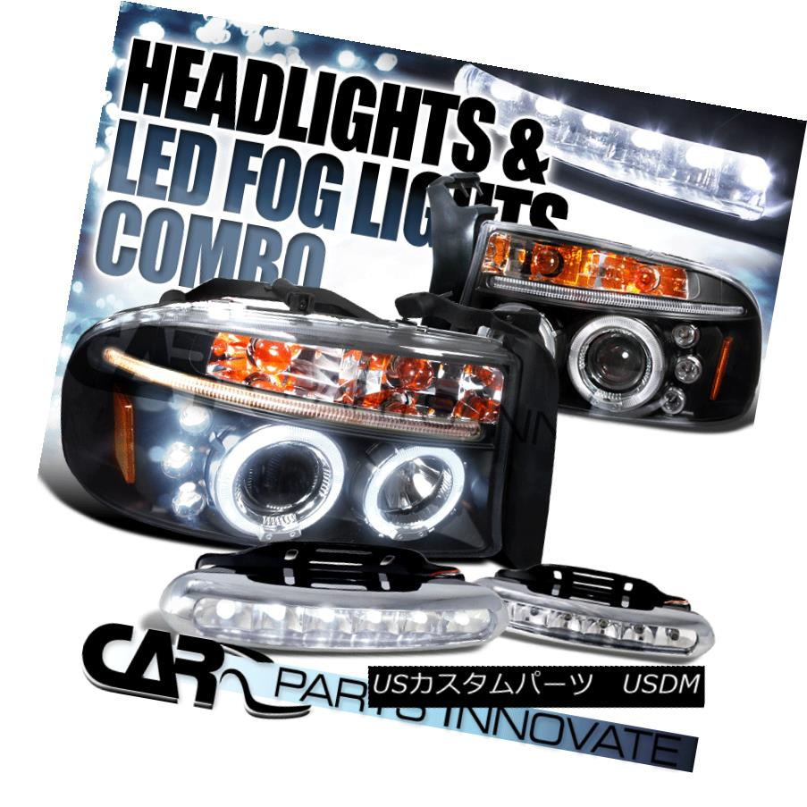 ヘッドライト 98-03 Durango Dakota Black Halo LED Projector Headlights+6-LED Fog Lamps 98-03 Durango Dakota Black Halo LEDプロジェクターヘッドライト+ 6-L  EDフォグランプ