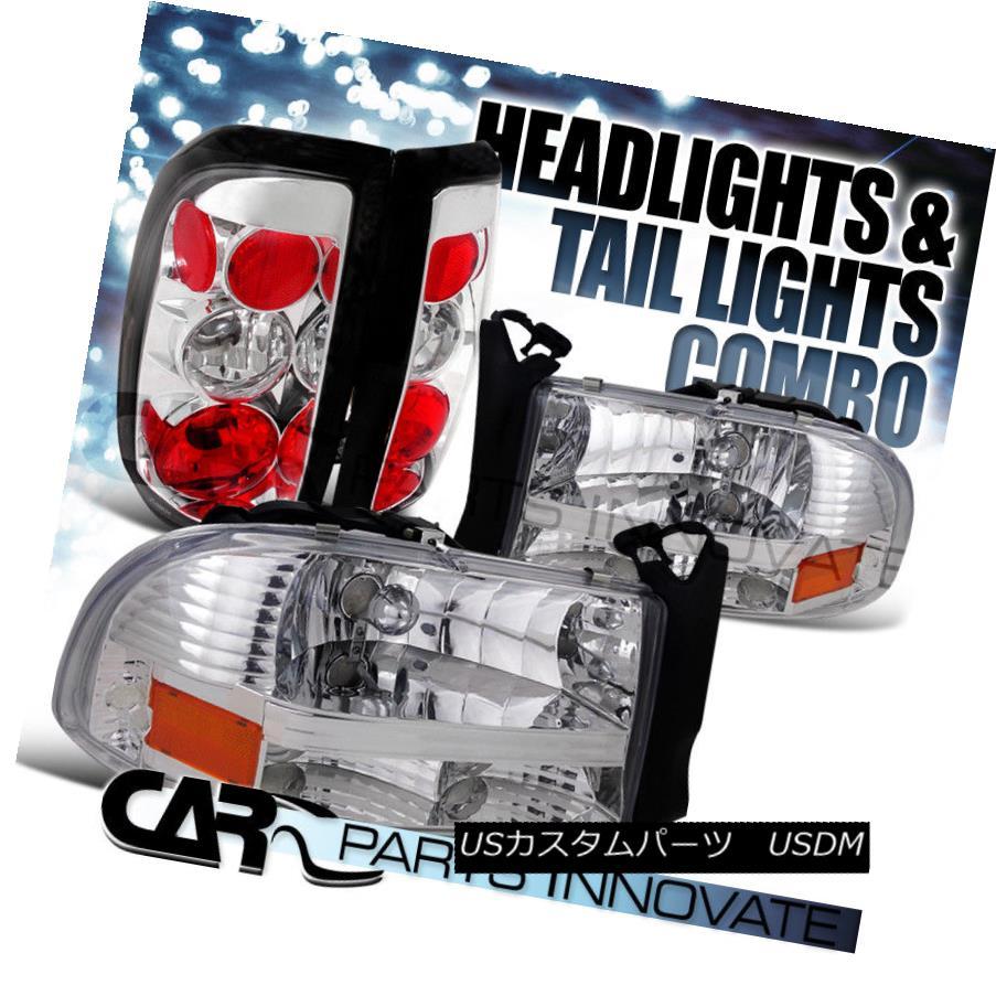 ヘッドライト 1997-2004 Dodge Dakota Clear Crystal Headlights+Chrome Altezza Tail Lamp 1997-2004 Dodge Dakotaクリアクリスタルヘッドライト+ Chr  ome Altezzaテールランプ