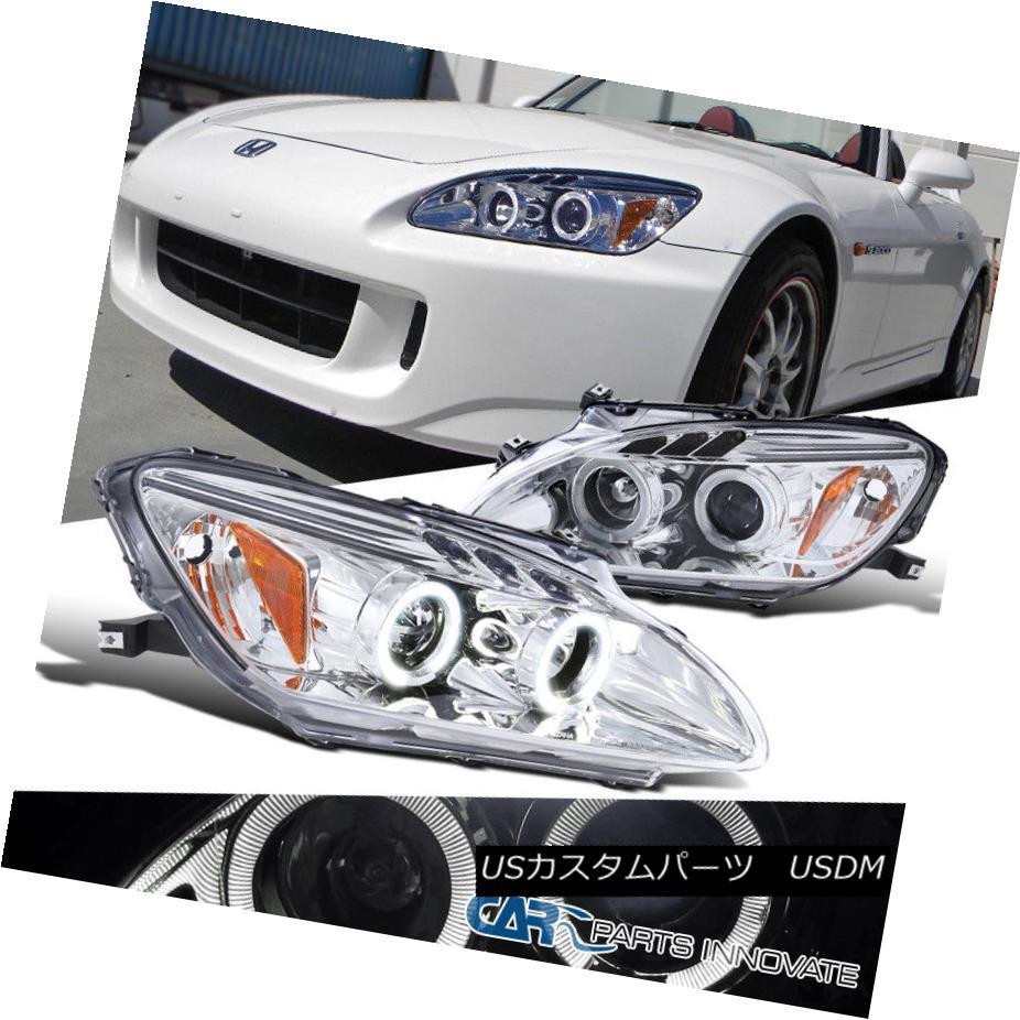 ヘッドライト Fit Honda 00-03 S2000 S2K AP1 Clear LED Halo Projector Headlights Headlamps Pair フィットホンダ00-03 S2000 S2K AP1クリアLEDハロープロジェクターヘッドライトヘッドランプペア
