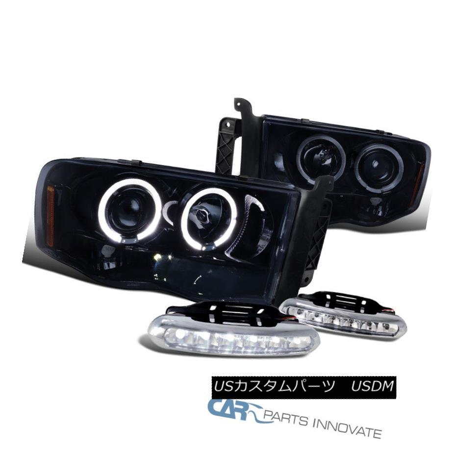 ヘッドライト Glossy Black 02-05 Dodge Ram 1500 Halo Projector Headlights+6-LED DRL Fog Lamps Glossy Black 02-05 Dodge Ram 1500 Haloプロジェクターヘッドライト+ 6-L  ED DRLフォグランプ