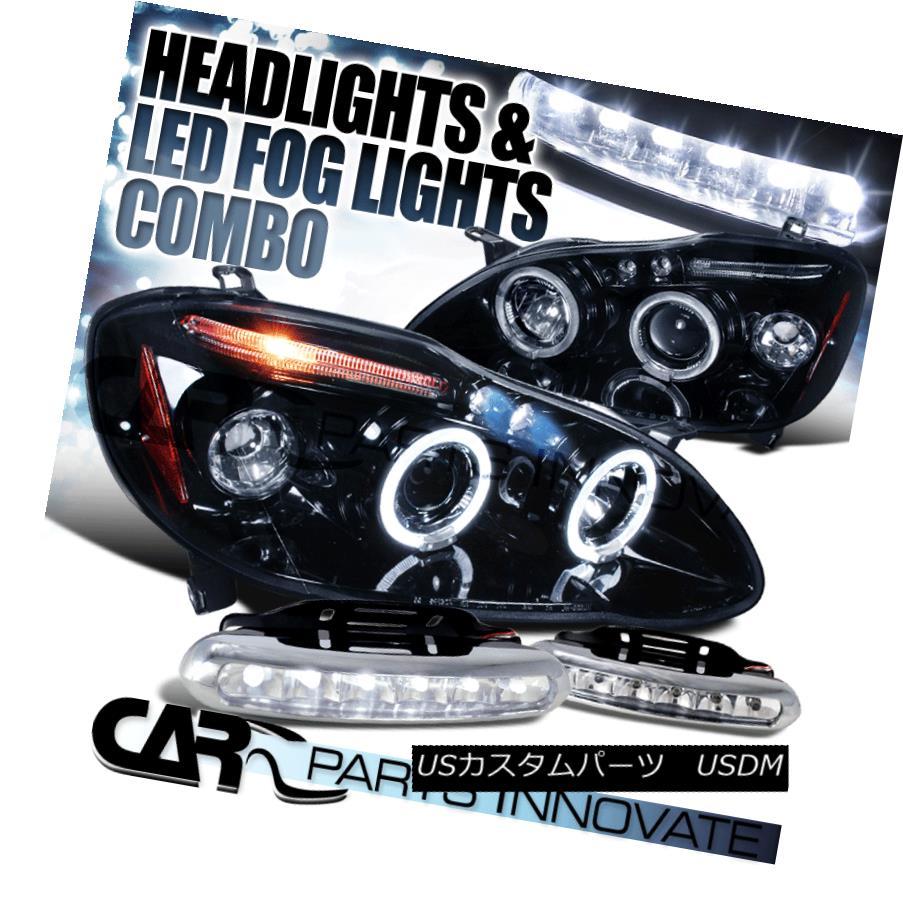 ヘッドライト Glossy Black For 03-08 Toyota Corolla Halo Projector Headlights+LED Fog DRL 光沢ブラック03-08トヨタカローラヘイロープロジェクターヘッドライト+ LEDフォグDRL