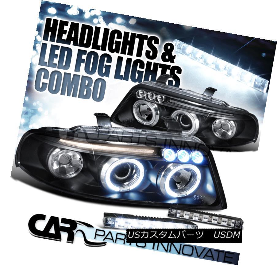 ヘッドライト For 99-01 Audi A4 Black Dual Halo LED Projector Headlights+Slim 6-LED Fog Lamps 99-01用Audi A4 Blackデュアル・ハローLEDプロジェクター・ヘッドライト+ Sli m 6-LEDフォグ・ランプ