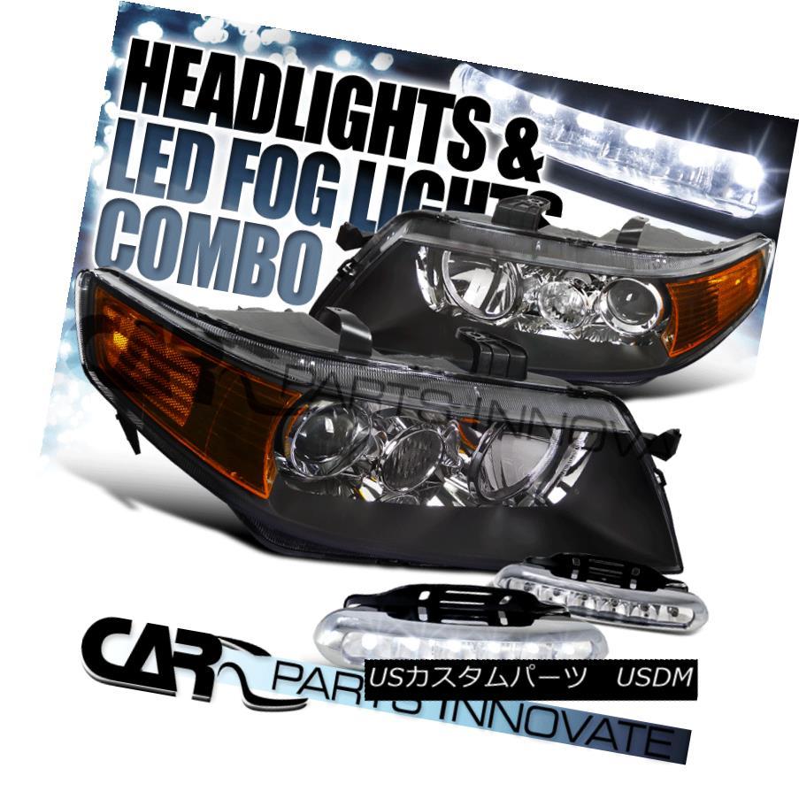 ヘッドライト 2004-2005 Acura TSX 4Dr Sedan Black Projector Headlights+LED Fog Bumper DRL 2004-2005 Acura TSX 4Drセダンブラックプロジェクターヘッドライト+ LEDフォグバンパーDRL