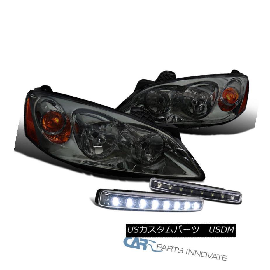 ヘッドライト Smoke Lens Pontiac 05-10 G6 Tint Headlights+Black 8-LED Fog Lights Bumper Lamps スモークレンズポンティアック05-10 G6ティントヘッドライト+ Bla  ck 8-LEDフォグライトバンパーランプ