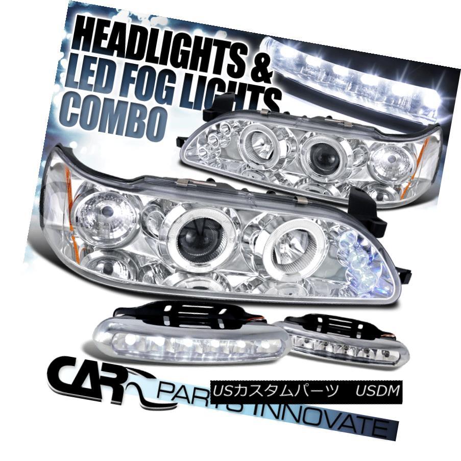 ヘッドライト For 93-97 Toyota Corolla Clear LED Halo Projector Headlights+LED Fog Bumper DRL 93-97トヨタカローラクリアLEDハロープロジェクターヘッドライト+ LEDフォグバンパーDRL