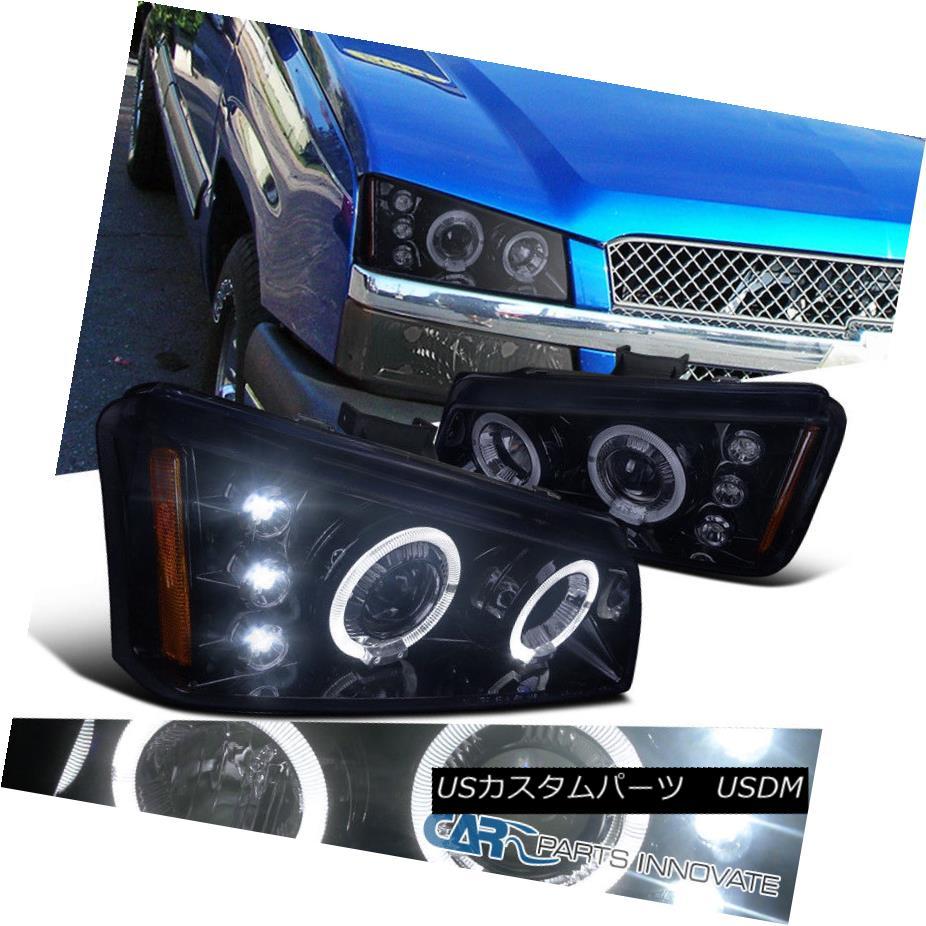 ヘッドライト Glossy Black 03-07 Silverado 02-06 Avalanche Smoke Halo LED Projector Headlights 光沢ブラック03-07シルバラード02-06アバランシェ煙ハローLEDプロジェクターヘッドライト