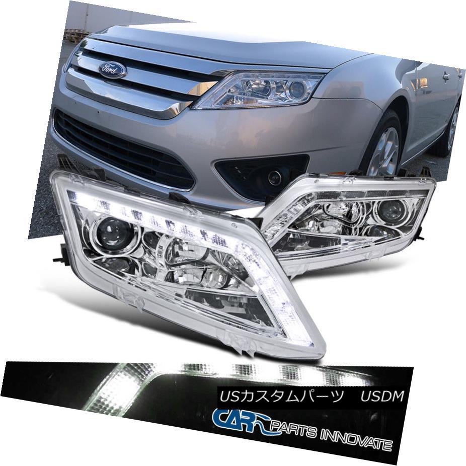 ヘッドライト Ford 10-12 Fusion LED Driving DRL Projector Headlights Lamp Chrome フォード10-12フュージョンLEDドライビングDRLプロジェクターヘッドライトランプクローム