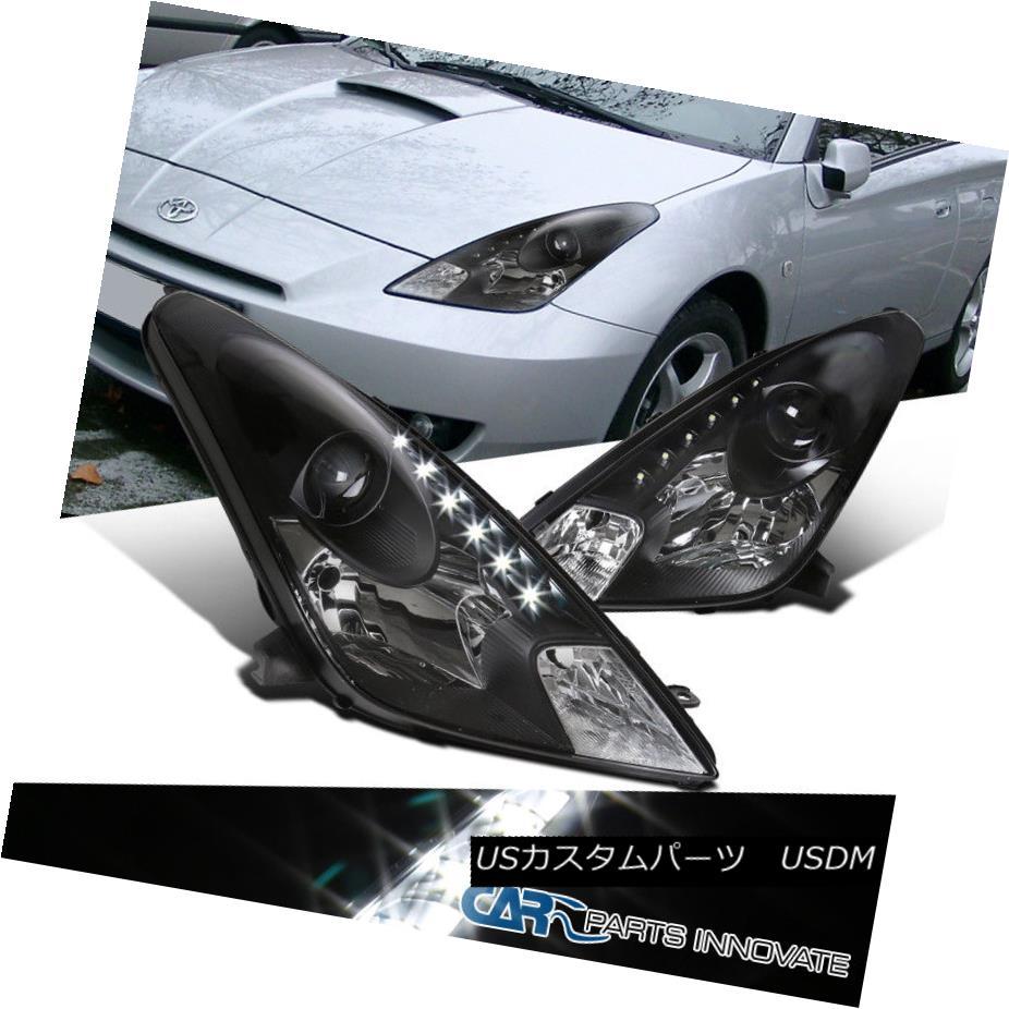 ヘッドライト For 00-05 Toyota Celica Black LED Strip Projector Headlights Lamps Replacement 00-05用トヨタセリカブラックLEDストリッププロジェクターヘッドライトランプ交換