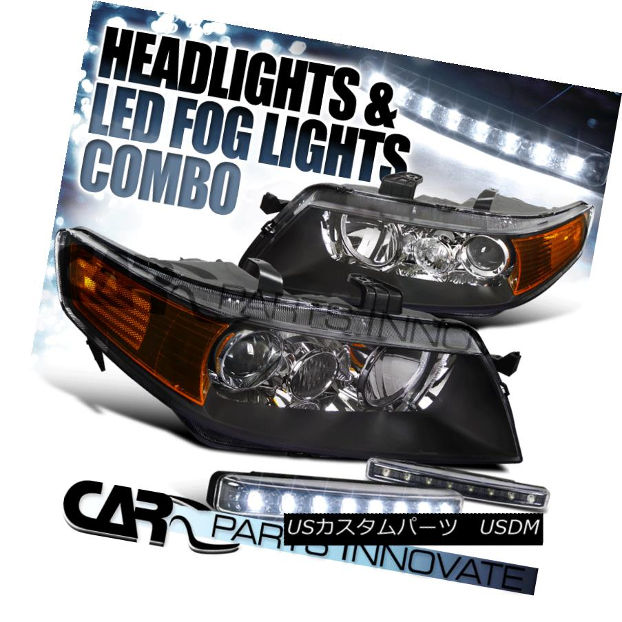 ヘッドライト 2004-2005 Acura TSX 4Dr Sedan Black Projector Headlights+8-LED Bumper Fog Lamps 2004-2005 Acura TSX 4Drセダンブラックプロジェクターヘッドライト+ 8-L  EDバンパーフォグランプ