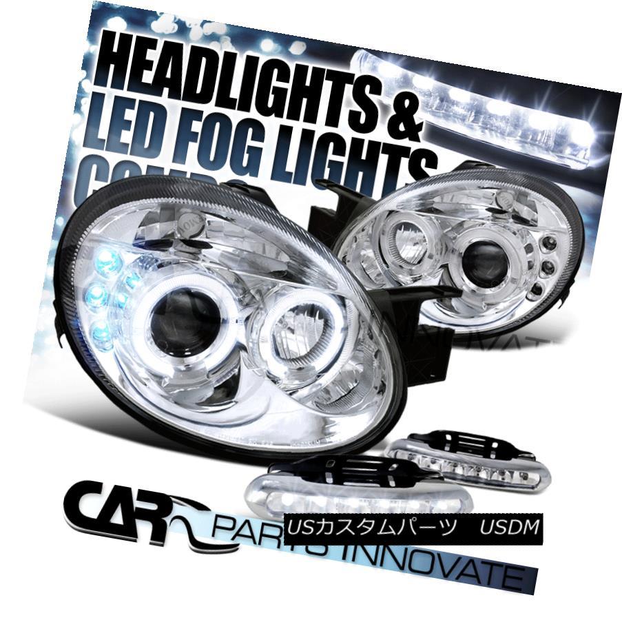 ヘッドライト 03-05 Dodge Neon Chrome Twin Halo Projector Headlights+6-LED Fog Lamps 03-05ダッジネオンクロムツインハロープロジェクターヘッドライト+ 6-L  EDフォグランプ