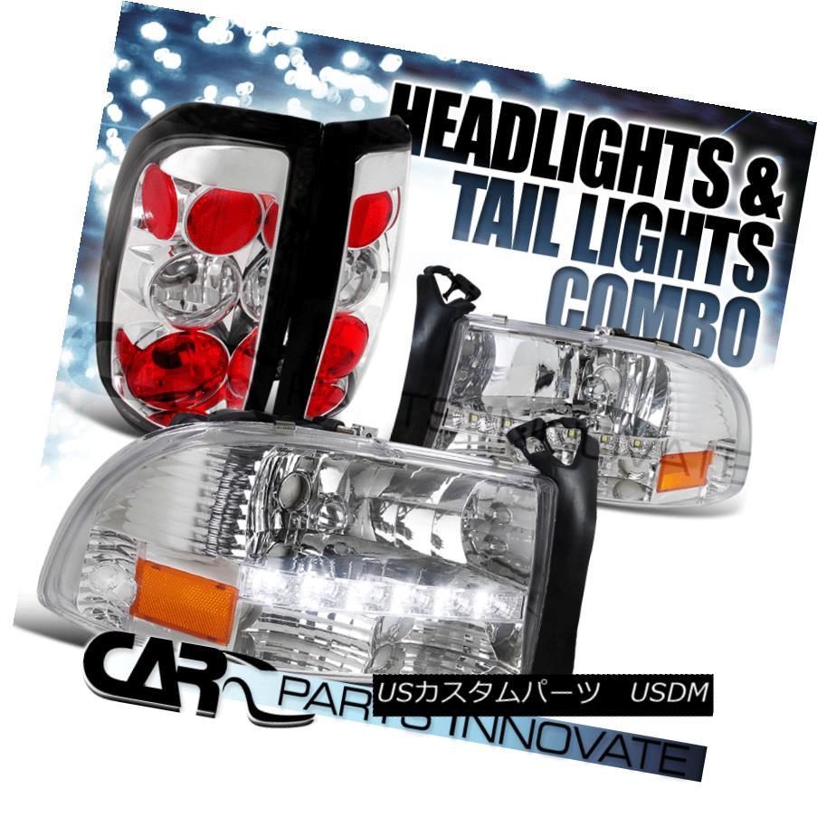 ヘッドライト 1997-2004 Dodge Dakota Clear Crystal SMD LED Headlights+Chrome Altezza Tail Lamp 1997-2004ダッジダコタクリアクリスタルSMD LEDヘッドライト+ Chr オームAltezzaテールランプ