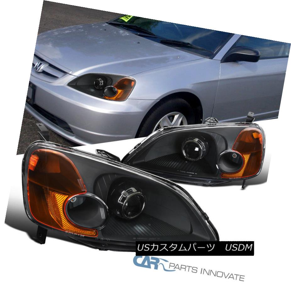 ヘッドライト For 01-03 Honda Civic 2/4Dr Black Retrofit Style Projector Headlights Head Lamps 01-03ホンダシビック2 / 4Drブラックレトロフィットスタイルプロジェクターヘッドライトヘッドランプ用