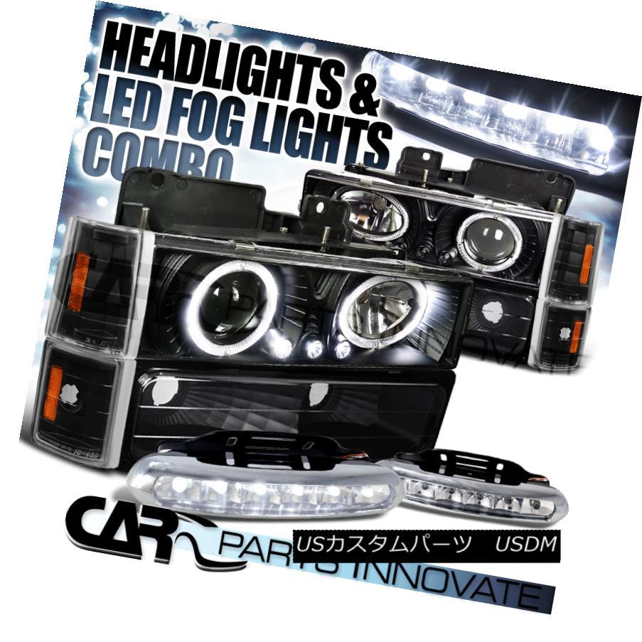ヘッドライト C10 C/K Yukon Halo Black Projector Headlight+Corner Bumper Lamps+6-LED Fog Lamps C10 C / K Yukon Haloブラックプロジェクターヘッドライト+コーン erバンパーランプ+ 6-LEDフォグランプ