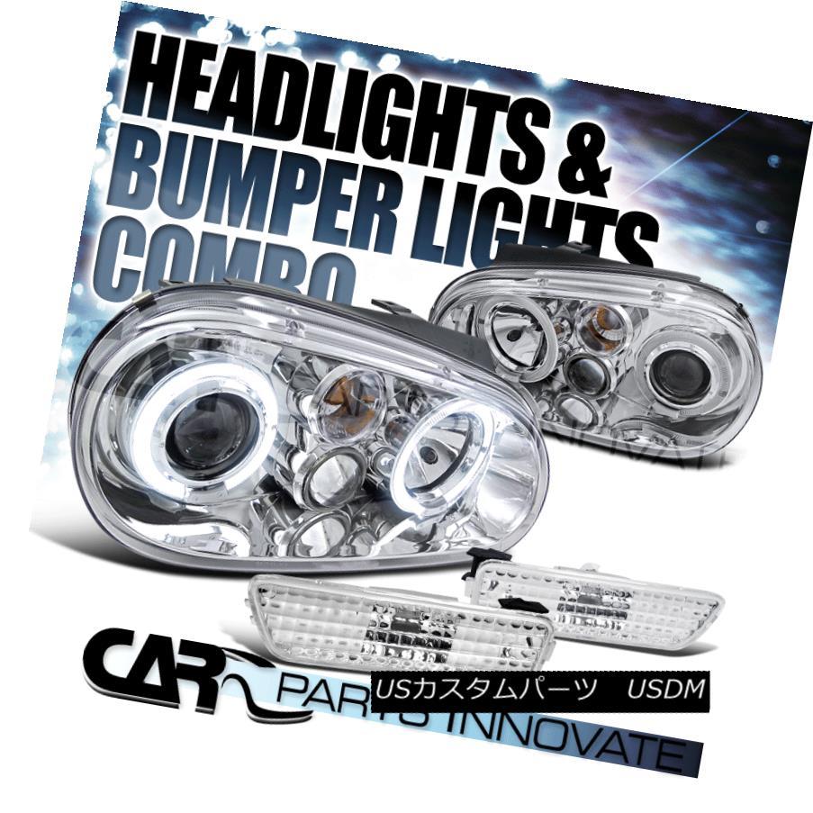 ヘッドライト For 1999-2005 VW Golf Mk4 GTI Chrome Halo Projector Headlight+Bumper Side Marker 1999-2005 VWゴルフMk4 GTIクロームハロープロジェクターヘッドライト+バンプ用 サイドマーカー