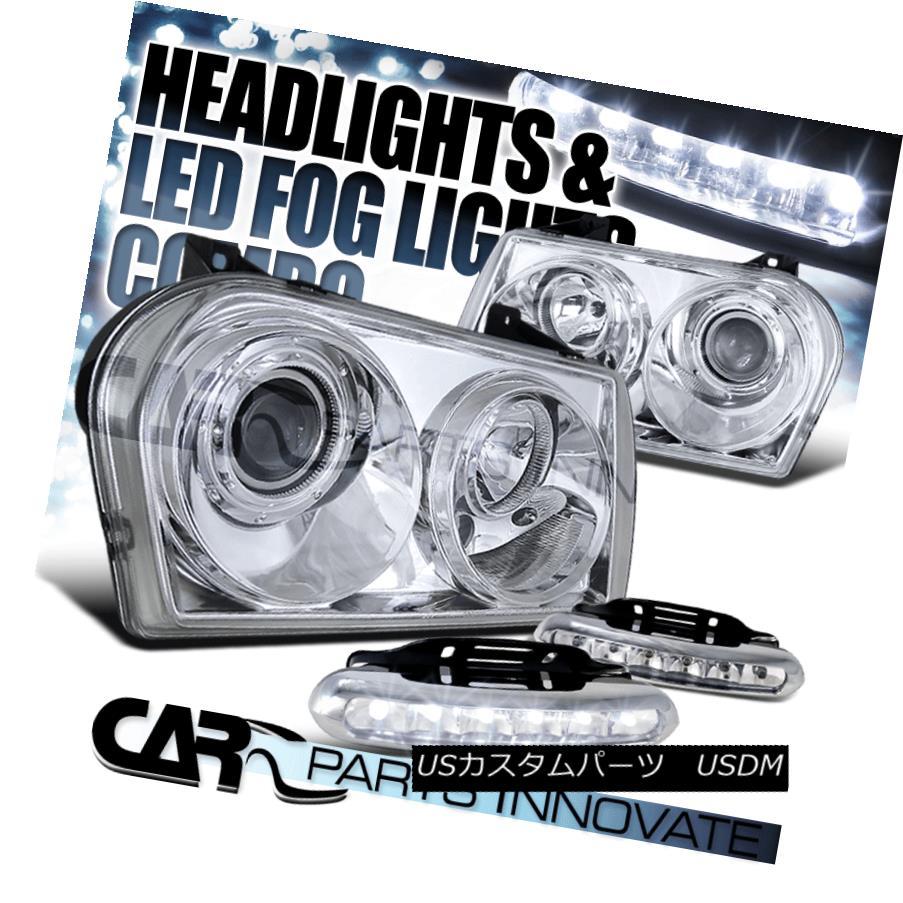ヘッドライト Chrysler 05-10 300 Crystal Chrome Projector Headlights+6-LED Fog Lamps クライスラー05-10 300クリスタルクロムプロジェクターヘッドライト+ 6-L  EDフォグランプ