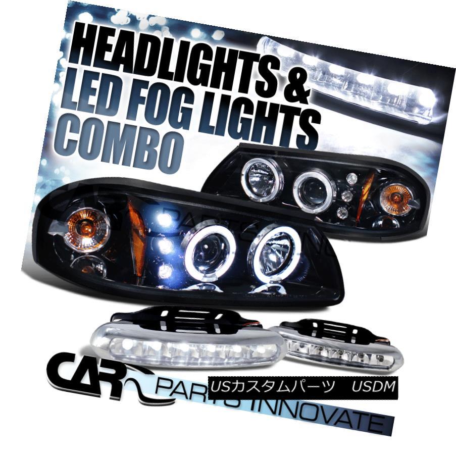 ヘッドライト Glossy Black 00-05 Chevy Impala Halo Projector Headlights+6-LED Fog Lamps Glossy Black 00-05 Chevy Impala Haloプロジェクターヘッドライト+ 6-L  EDフォグランプ