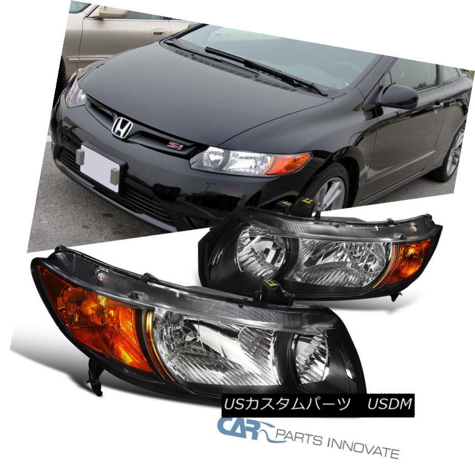 ヘッドライト Fit 2006-2011 Honda Civic 2Dr Coupe Black Clear Headlights+Amber Corner Lamps フィット2006-2011ホンダシビック2Drクーペブラッククリアヘッドライト+アンブロウ コーナーランプ
