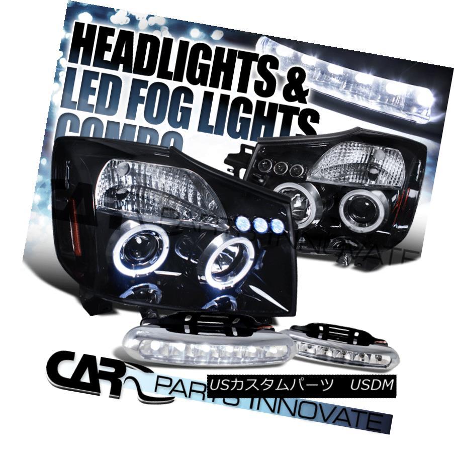ヘッドライト For Glossy Black 2004-2015 Titan Armada Halo Projector Headlights+6-LED Fog Lamp 光沢のある黒の場合2004-2015 Titan Armada Haloプロジェクターヘッドライト+ 6-L  EDフォグランプ