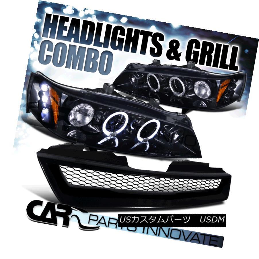 ヘッドライト For 94-97 Accord 2/4Dr Piano Black Halo Projector Headlights w/ Mesh Hood Grille 94-97アコーデオン2 / 4Drピアノブラックハロープロジェクターヘッドライト(メッシュフードグリル付)