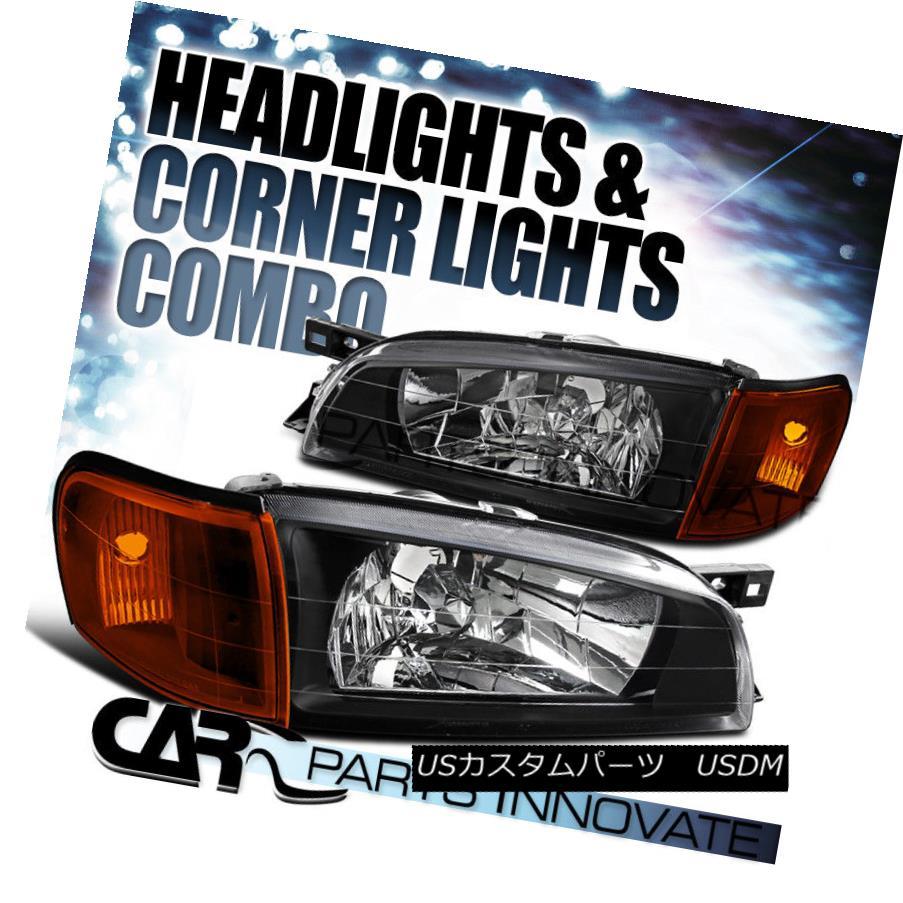ヘッドライト For 1995-2001 Subaru Impreza Black Crystal Headlights+Amber Corner Signal Lamps 1995?2001年スバルインプレッサブラッククリスタルヘッドライト+アンバー er Corner Signal Lamps